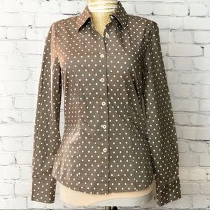 Boden Brown and Off White Polkadot Tailer Fit Top